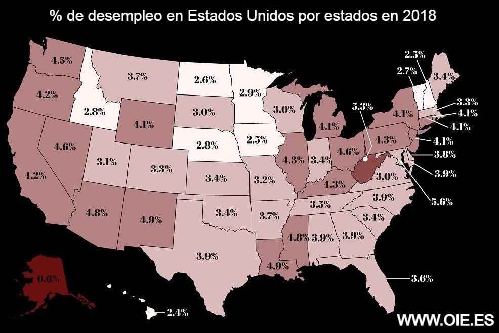 % de desempleo en estados unidos por estados en 2018